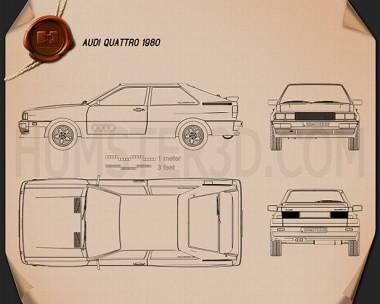 Audi Quattro 1980 Blueprint
