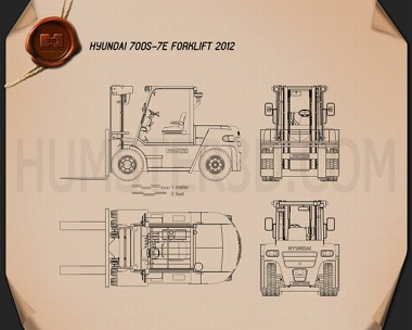 Hyundai 70DS-7E Forklift 2012 Blueprint