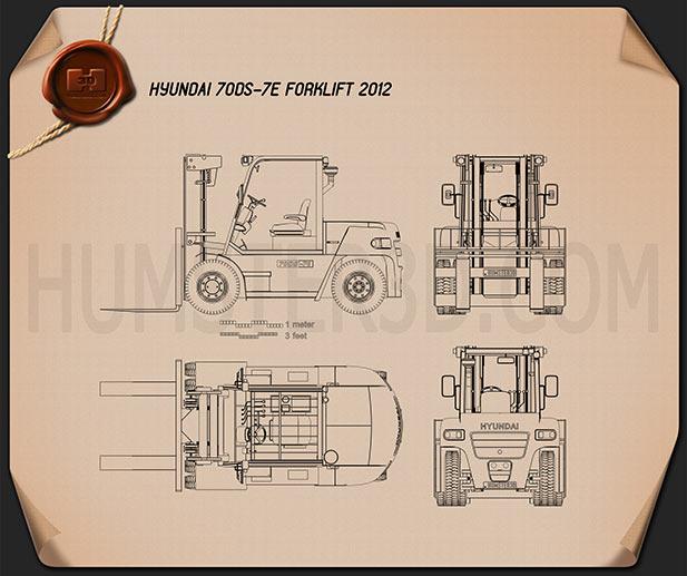 Hyundai 70DS-7E Forklift 2012 Blueprint