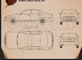Hyundai Genesis sedan 2012 Blueprint