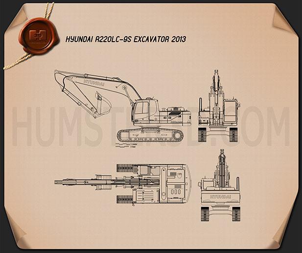 Hyundai R220LC-9S Excavator 2013 Blueprint