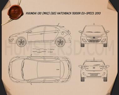 Hyundai i30 5-door hatchback (EU) 2013 Blueprint