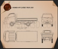 Hyundai HR Flatbed Truck 2013 Blueprint