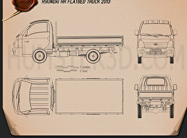 Hyundai HR Flatbed Truck 2013 Blueprint