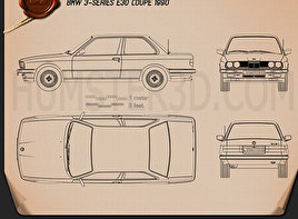 BMW 3 Series coupe (E30) 1990 Blueprint