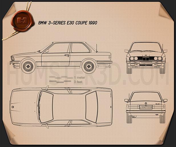 BMW 3 Series coupe (E30) 1990 Blueprint