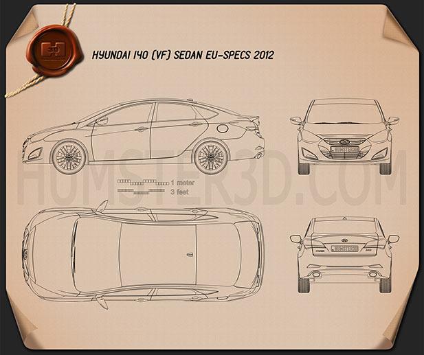 Hyundai i40 sedan (EU) 2012 Blueprint