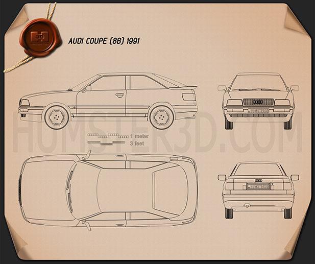 Audi Coupe 1991 Blueprint