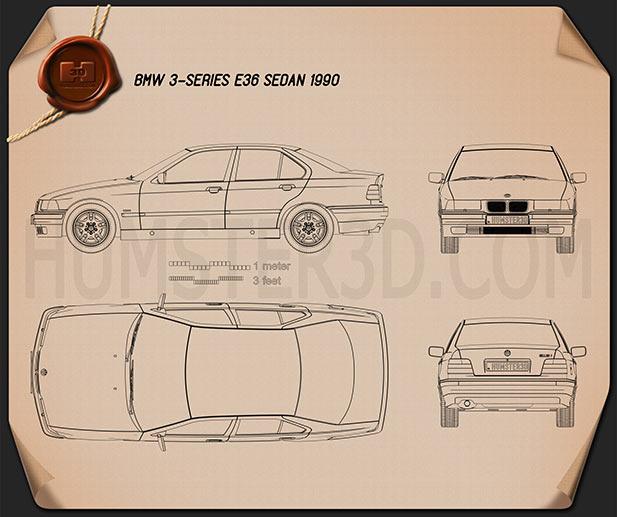 BMW 3 Series (E36) sedan 1994 Blueprint