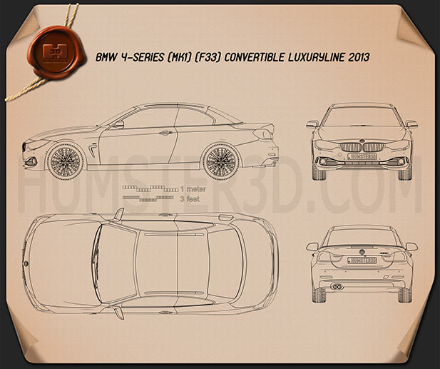 BMW 4 Series (F33) convertible Luxury Line 2013 Blueprint