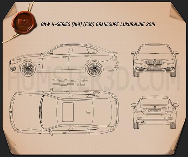 BMW 4 Series (F36) Gran Coupe Luxury Line 2013 Blueprint