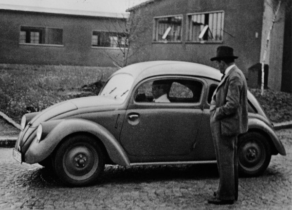 Ferdinand Porshe and beetle prototype
