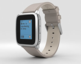 3D model of Pebble Time Steel Silver Stone Leather Band
