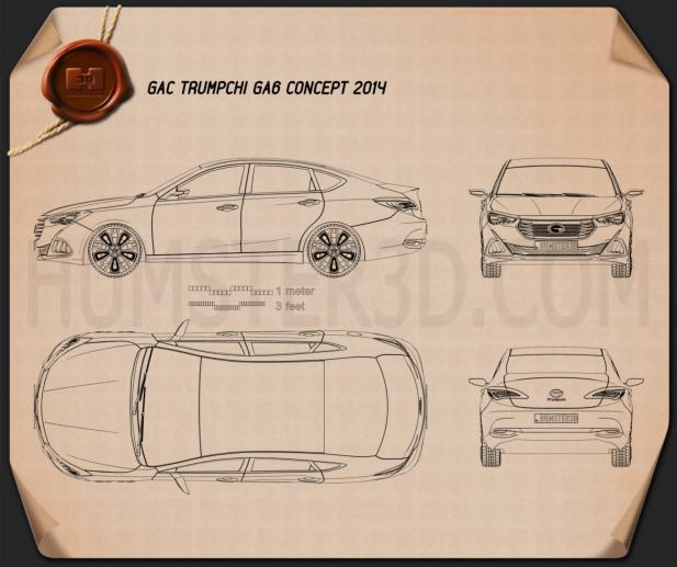 GAC Trumpchi GA6 2014 Blueprint