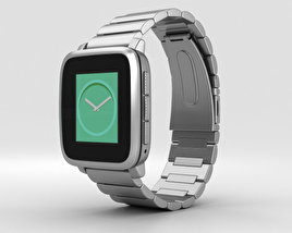 3D model of Pebble Time Steel Silver Metal Band