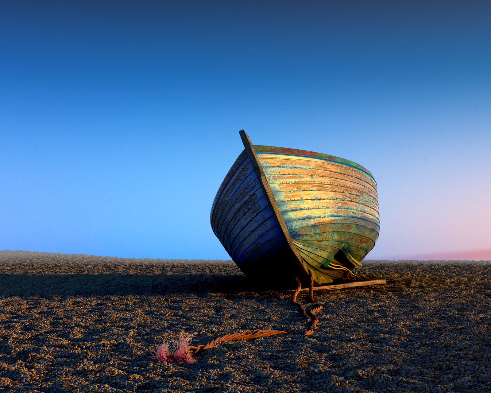 Boat on the beach by John Bavaresco