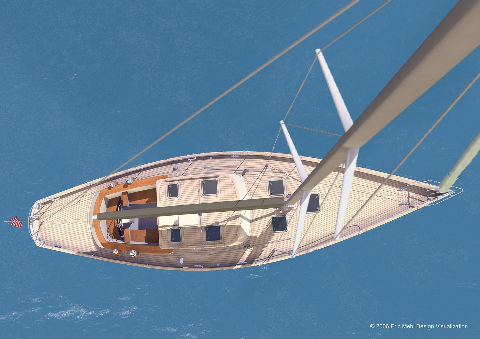 Sail Boat View from Mast by Eric Mehl