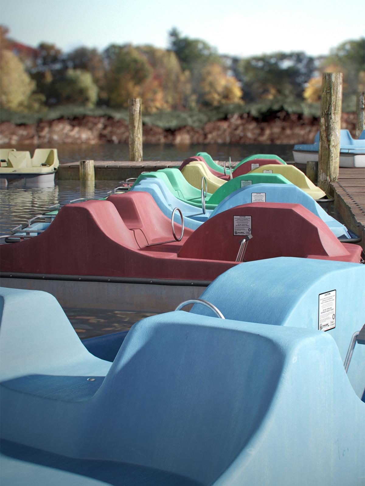 Paddle boats on a pond by David Rencsenyi