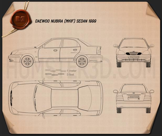 Daewoo Nubira sedan 1999 Blueprint