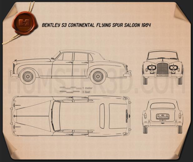 Bentley S3 Continental Flying Spur Saloon 1964 Blueprint