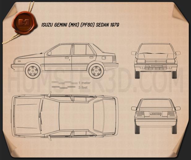 Isuzu Gemini (PF60) sedan 1979 Blueprint