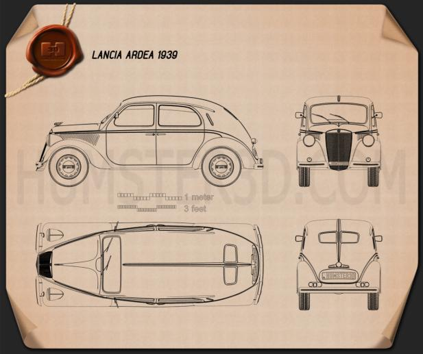 Lancia Ardea 1939 Blueprint