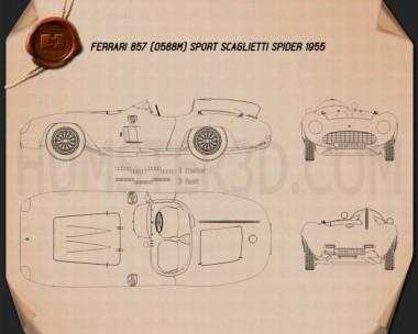 Ferrari 857 Sport Scaglietti Spider 1955 Blueprint