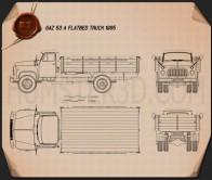 GAZ 53 Flatbed Truck 1965 Blueprint