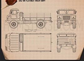 GAZ 66 Flatbed Truck 1964 Blueprint