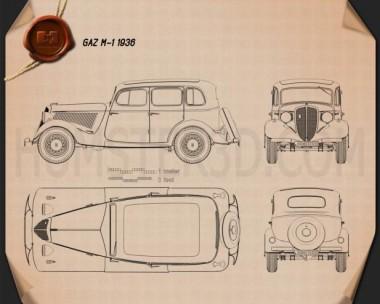 GAZ M1 1936 Blueprint