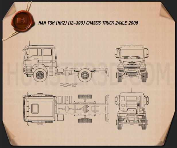 MAN TGM Chassis Truck 2008 2-axle Blueprint