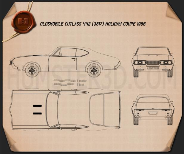 Oldsmobile Cutlass 442 (3817) Holiday coupe 1966 Blueprint
