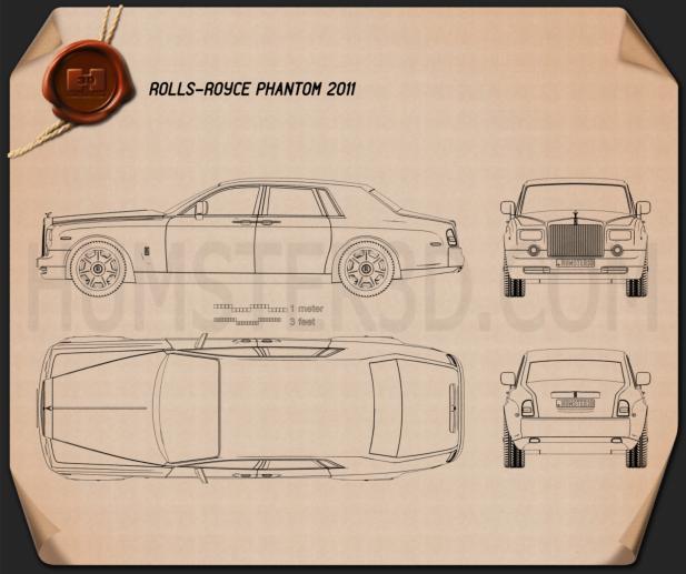 Rolls-Royce Phantom 2011 Blueprint