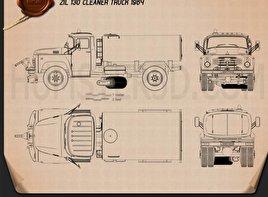 ZIL 130 Street Cleaner Truck 1964 Blueprint