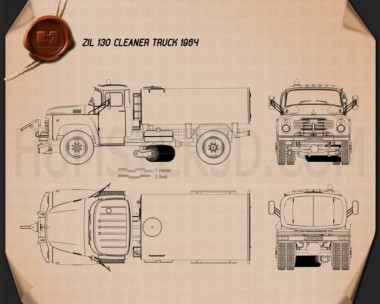 ZIL 130 Street Cleaner Truck 1964 Blueprint
