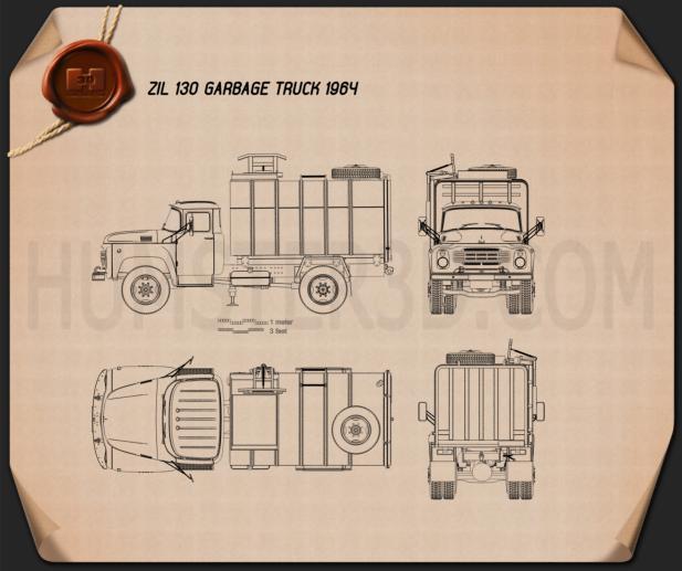 ZIL 130 Garbage Truck 1964 Blueprint