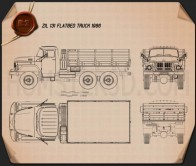 ZIL 131 Flatbed Truck 1966 Blueprint