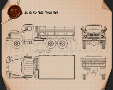 ZIL 131 Flatbed Truck 1966 Blueprint