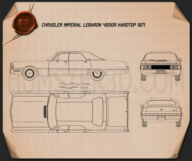 Chrysler Imperial LeBaron 4-door hardtop 1971 Blueprint