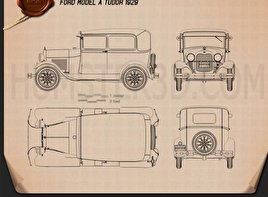 Ford Model A Tudor 1929 Blueprint