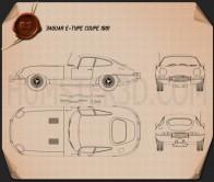 Jaguar E-type coupe 1961 Blueprint