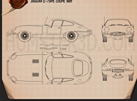 Jaguar E-type coupe 1961 Blueprint