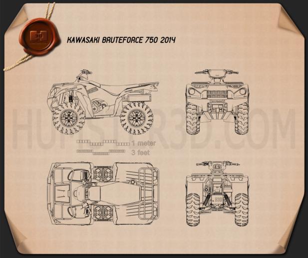 Kawasaki Bruteforce 750 2014 Blueprint
