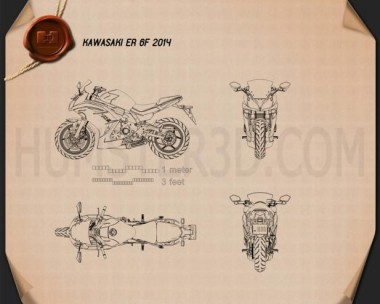 Kawasaki Ninja 650R (ER-6f) 2014 Blueprint