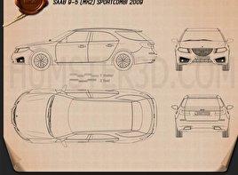 Saab 9-5 Sport Combi 2009 Blueprint