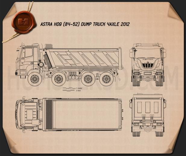 Astra HD9 (84-52) Dump Truck 4-axle 2012 Blueprint