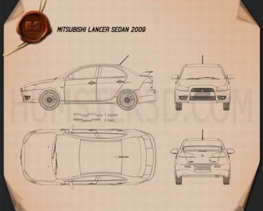 Mitsubishi Lancer Sedan 2009 Blueprint