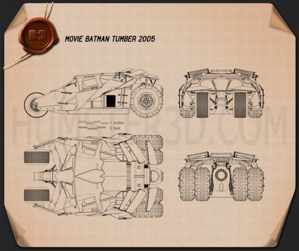 Batmobile Tumbler 2005 Blueprint