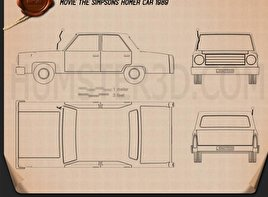 Cartoon car blueprint 3d models download hum3d the simpsons homer car 1989 blueprint malvernweather Image collections
