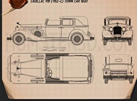 Cadillac V-16 town car 1933 Blueprint